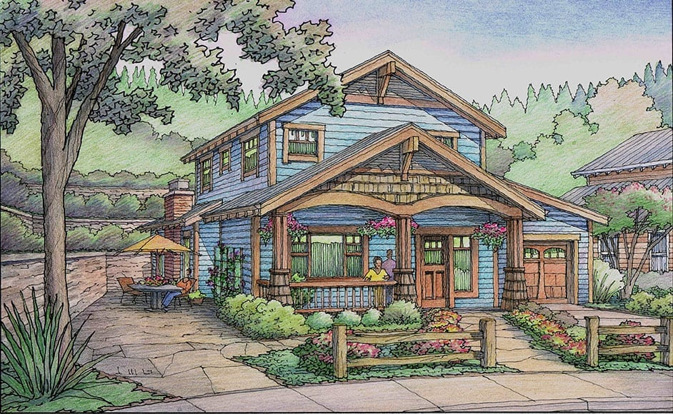 Blue Cottage with Wood Trim for Senior Living