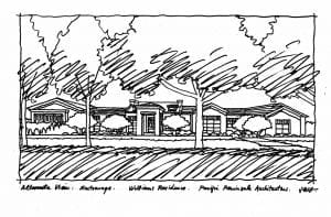 Black & White Line Drawing of Atherton Residence