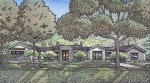 Color Pencil Rendering of New Custom Residence for Atherton, CA.
