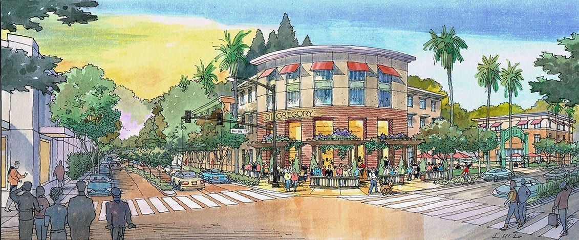 Watercolor Rendering of Office Building Development with Brewery