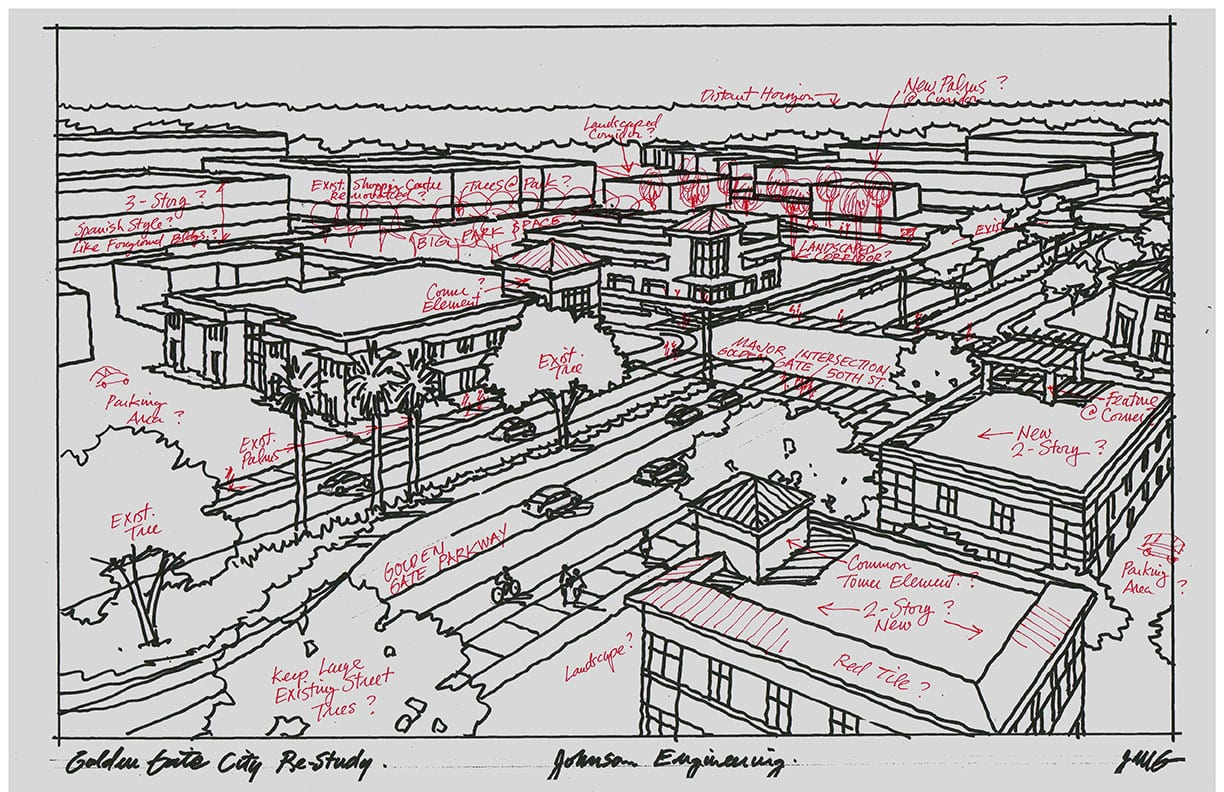 Rough Freehand Perspective Sketch of Redevelopment District