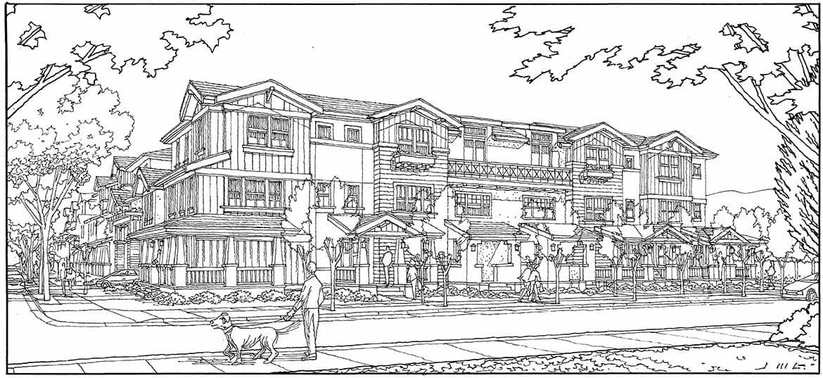 Perspective Line Drawing of Craftsman Style Residential Project