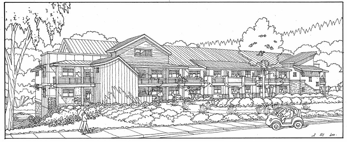 Black & White Freehand Line Drawing of Planned California Condo