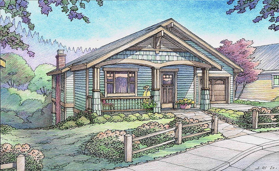 Color Pencil Rendering of Sage Green Cottage for Rincon del Rio