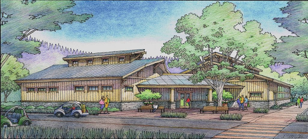 Color Pencil Rendering of Pool Building Like Barn