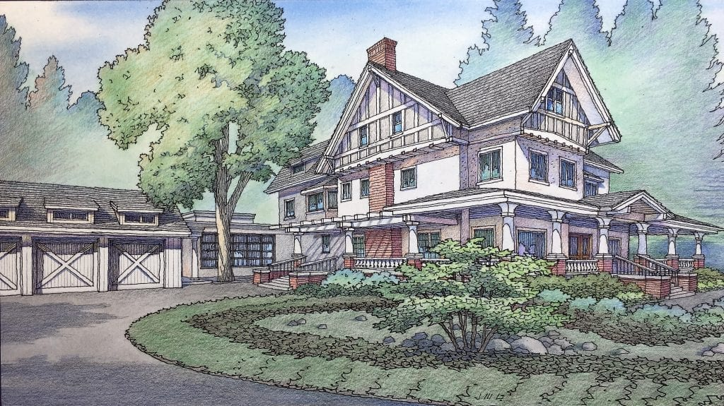 Color Rendering of Renovation and Addition to Atherton Residence