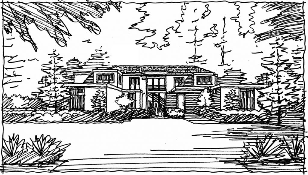 Rough Sketch for Front Perspective Rendering of Atherton, CA. Residence