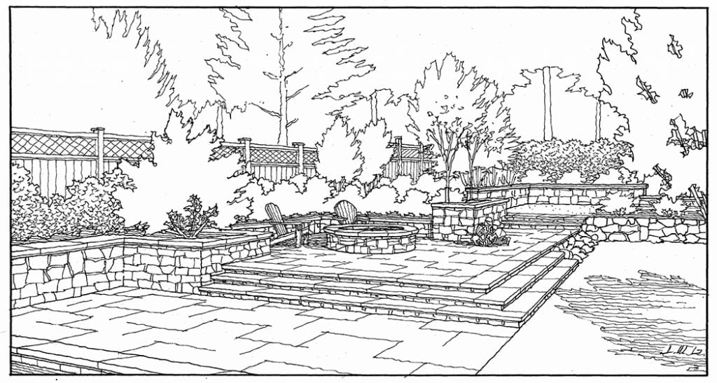 Freehand Line Drawing of Landscape Improvements