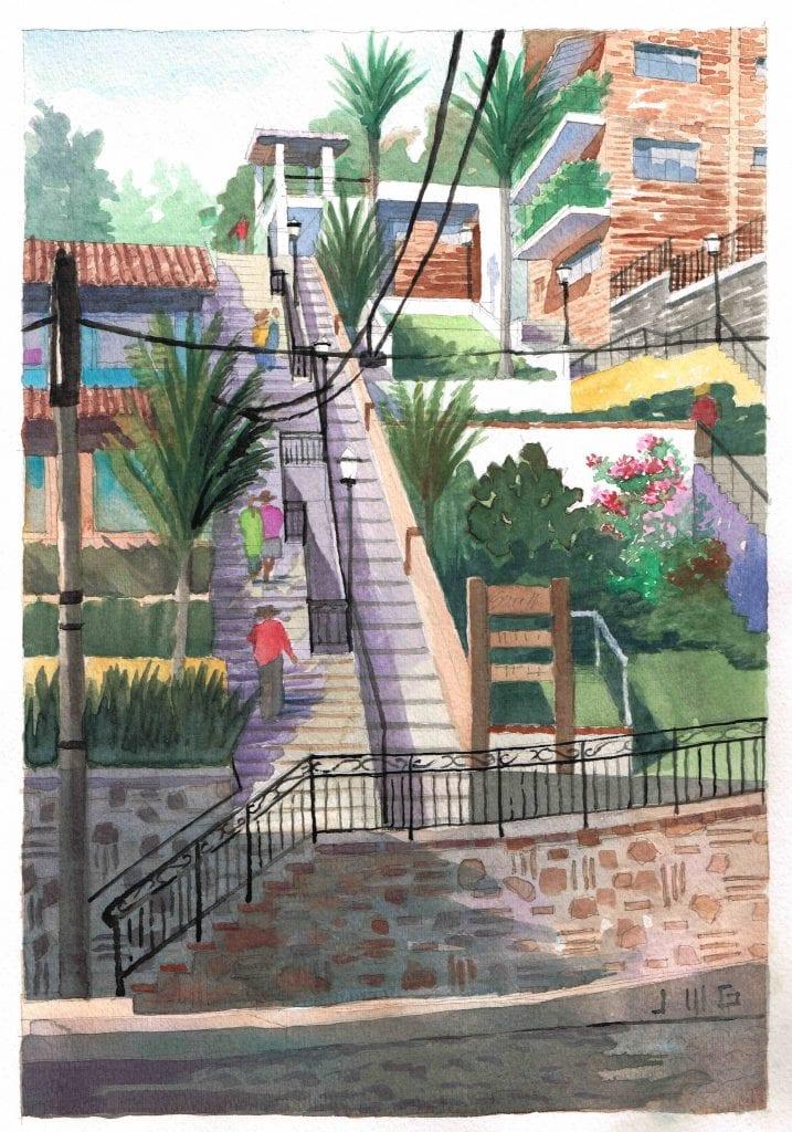 Travel Watercolor of Olas Altas in Puerto Vallarta