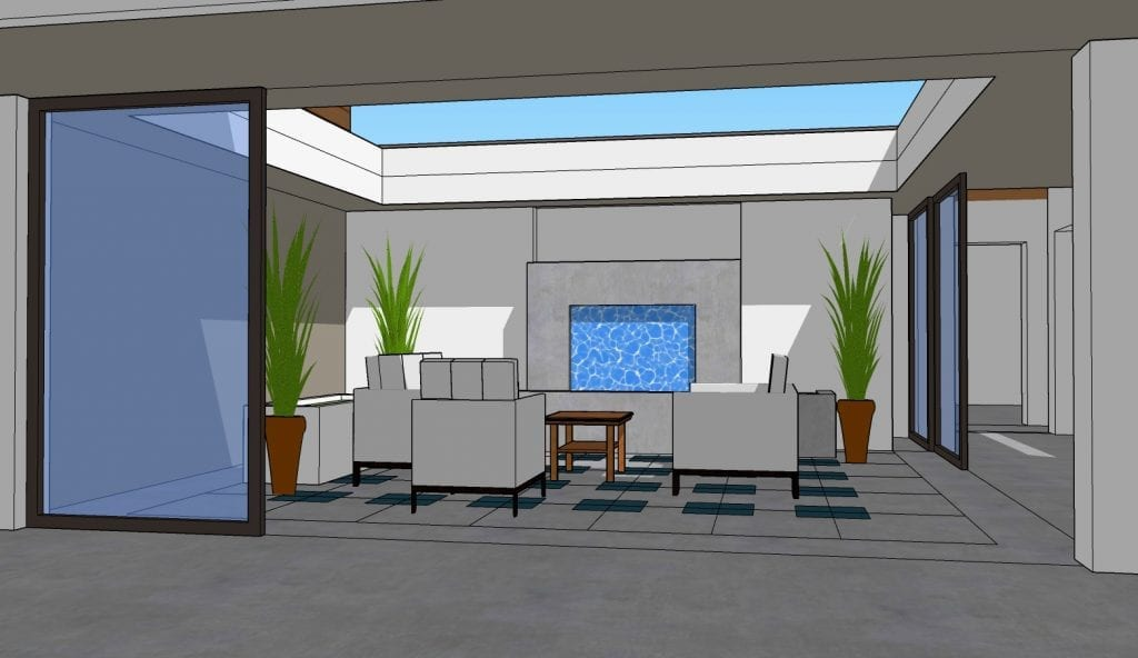 Digital Perspective Rendering of Atrium Space for Custom Home