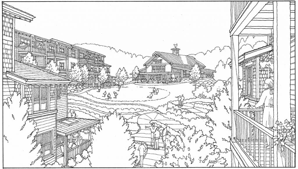 Black & White Perspective Rendering of Spokane Cohousing Project