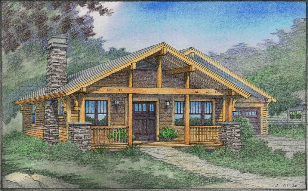 Rendering of a Simple Cottage for the Foothills