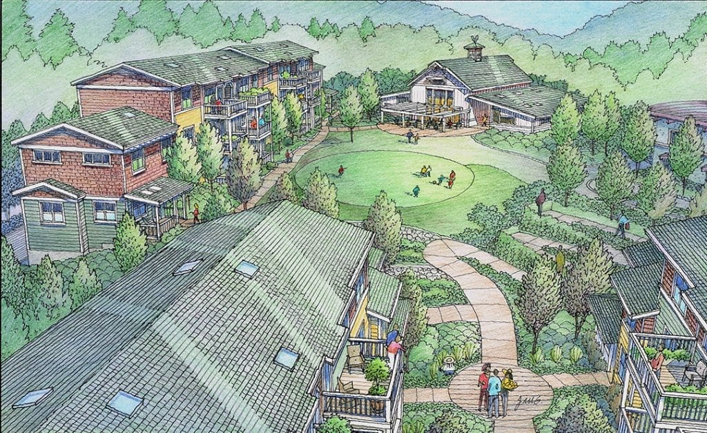 Color Pencil Rendering of Cohousing Project Planned for Spokane, WA.