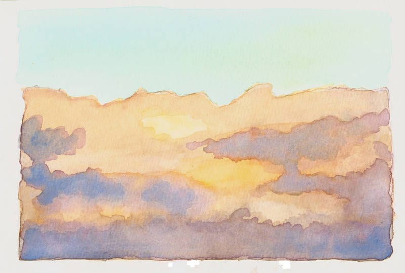 Watercolor of Sun Through Clouds