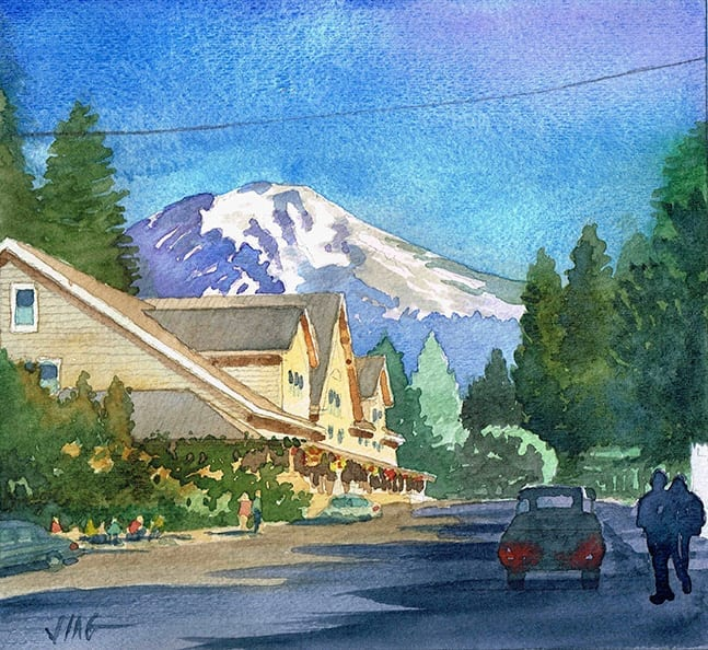 Watercolor Painting of McCloud and Mount Shasta