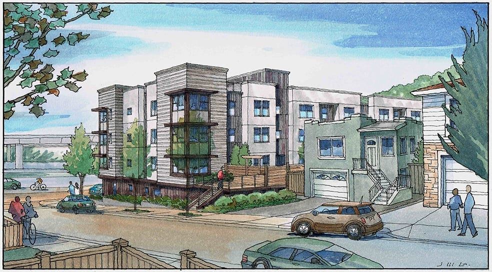 Watercolor Rendering of Residential Project near San Francisco