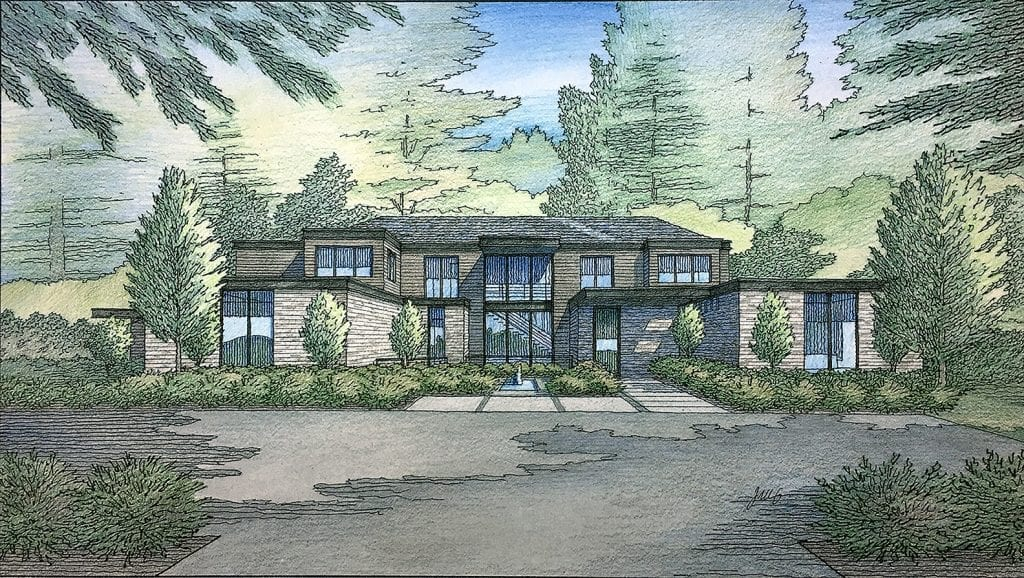 Color Pencil Rendering of New Custom Residence in Atherton, CA