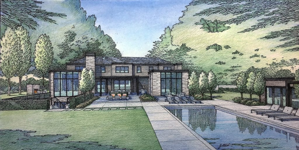Rear Yard Rendering of Custom Home in Atherton, CA.