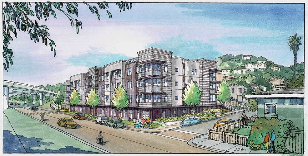 Watercolor Rendering of Proposed San Francisco Bay Area Housing Project