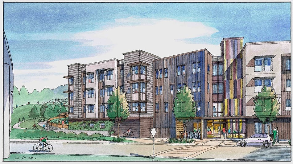 Watercolor Rendering of San Francisco Area Housing Project