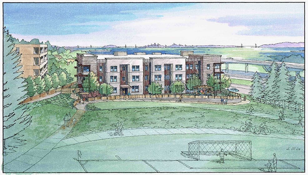 Watercolor Rendering of Proposed Residential Project near San Francisco