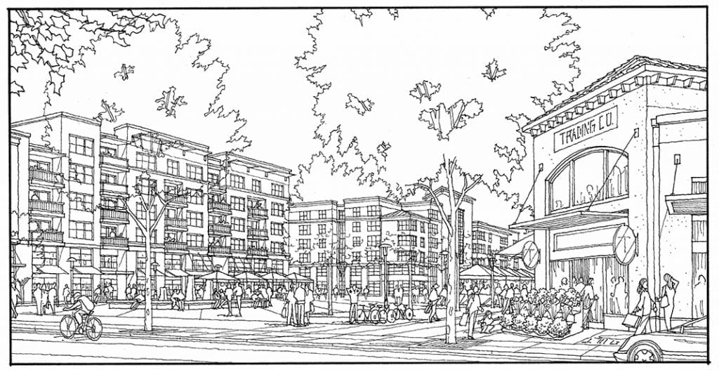 Hand Drawn Perspective Line Drawing of Large Urban Project
