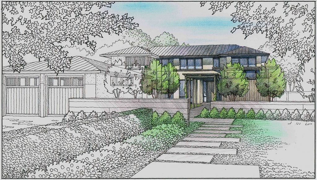 Color Test for Rendering of Proposed Residence in Atherton, CA