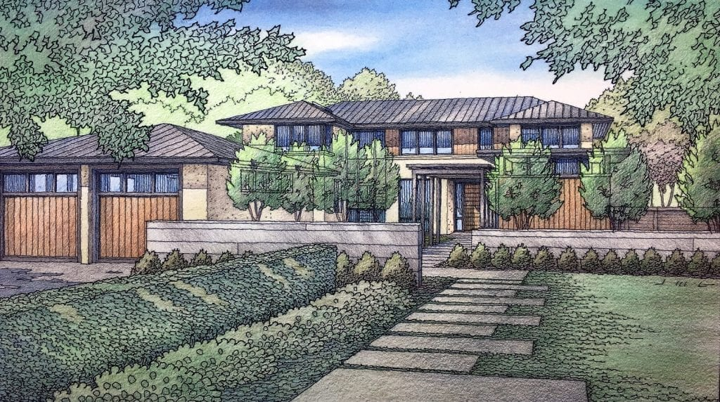 Color Pencil Architectural Rendering of San Francisco Bay Area Home