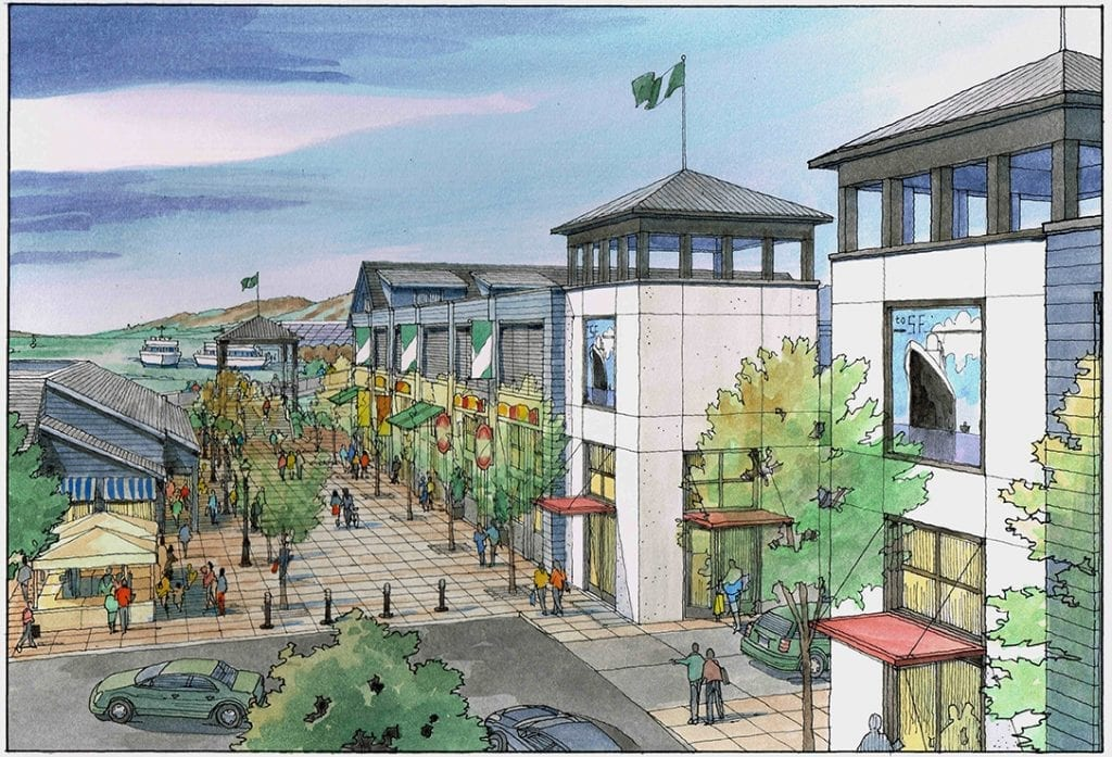 Watercolor of Conceptual Design for Retail, Parking around San Francisco Bay Area