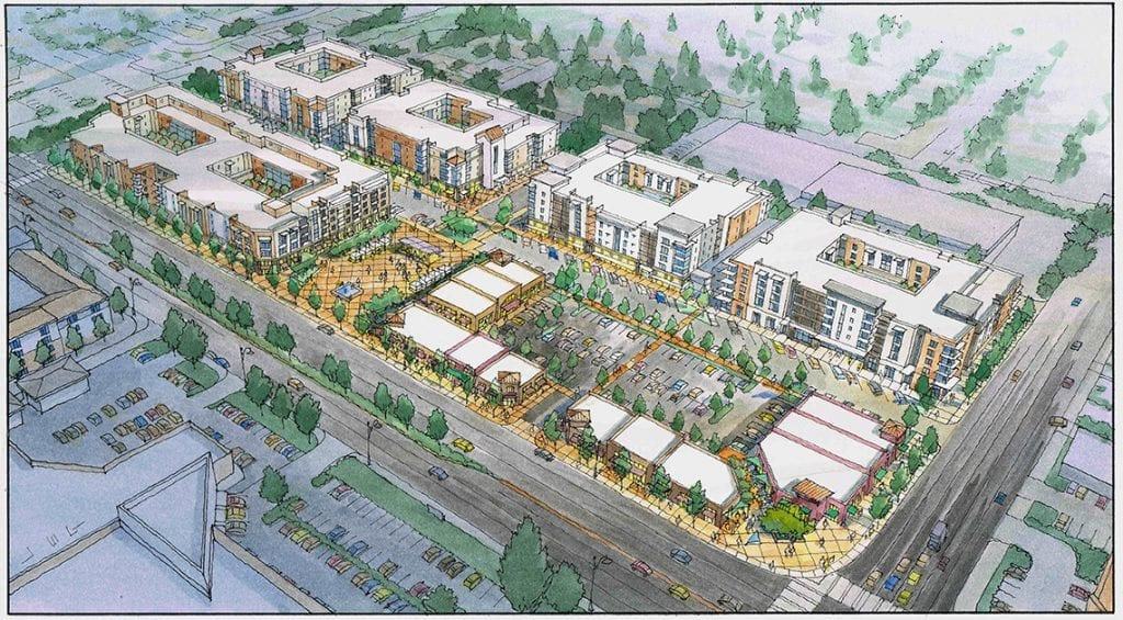 Watercolor Rendering of Redevelopment Concept for Silicon Valley