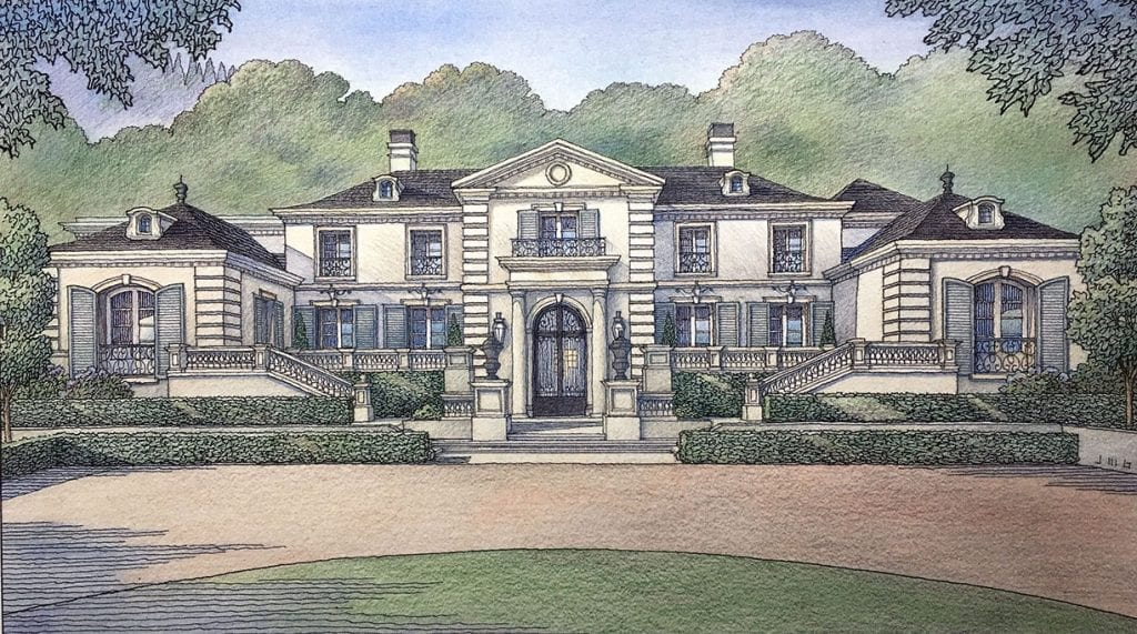 Color Pencil Rendering of New Custom Residence in the San Jose Area