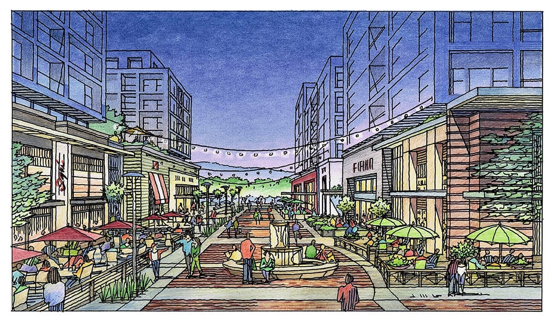 Color Pencil Rendering of Mixed Use Development for Silicon Valley