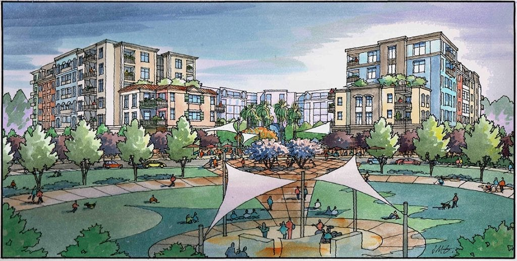 Watercolor Rendering of Mixed Use Project in San Jose