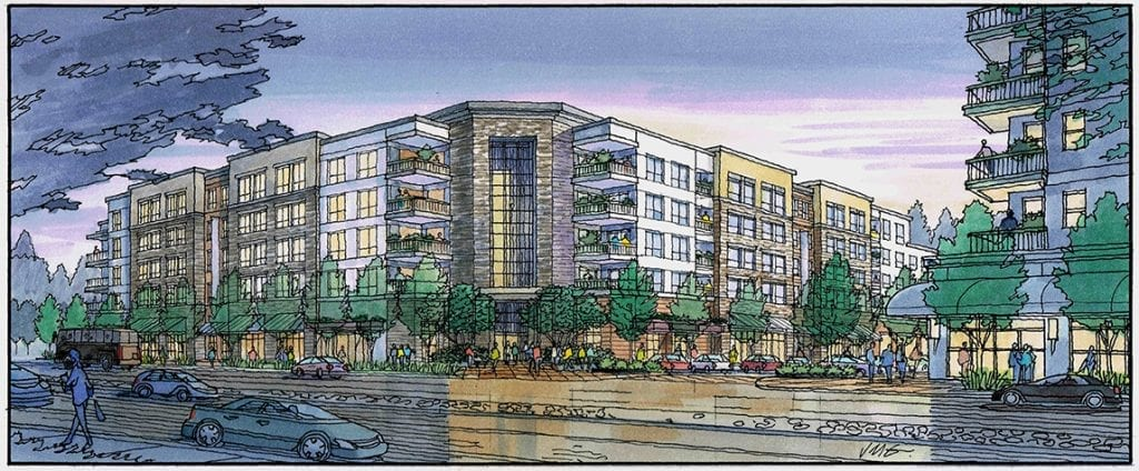 Architectural Illustration in Watercolor for San Jose Mixed Use Project