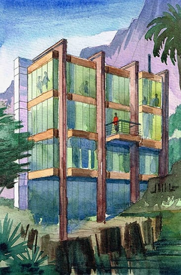 Watercolor of Hillside House designed by Jeffrey Michael George