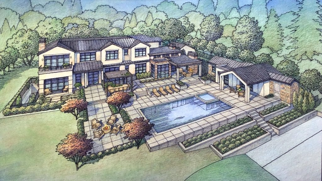 Front Perspective and Aerial Rendering of Los Altos Hills Custom Residence