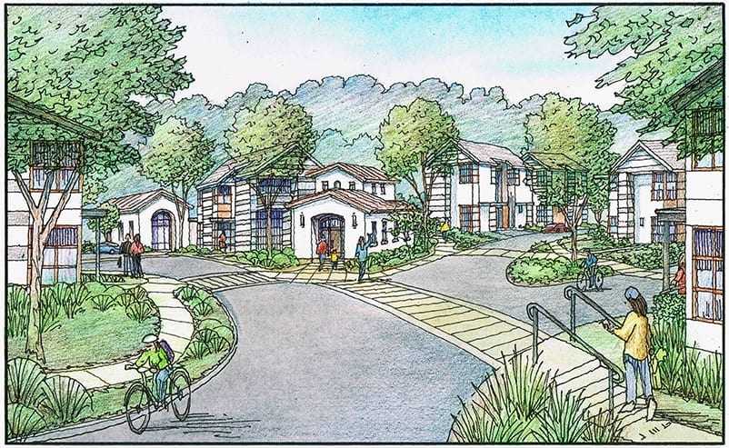 Hand Drawn Color Pencil Rendering of Proposed Faculty Housing for College in Oakland, CA.