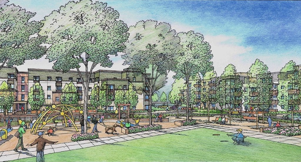 Hand Drawn Color Rendering of Park within Planned Senior Housing for Santa Rosa