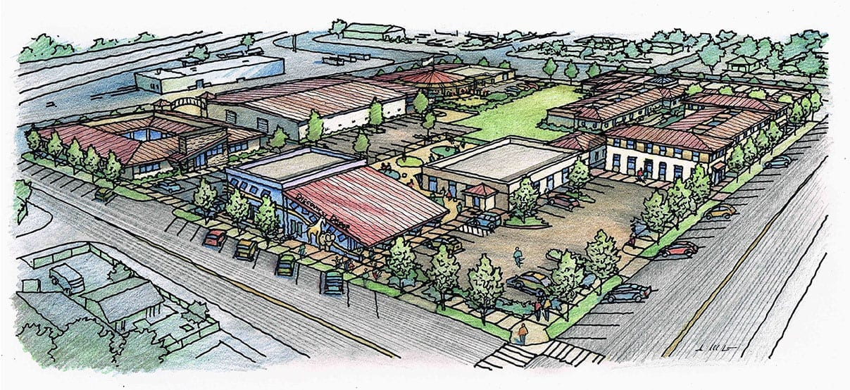 Color Pencil Rendering of Bakersfield California Homeless Center