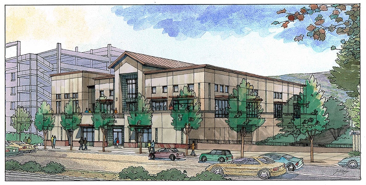 Watercolor Rendering of Daly City Project designed by San Francisco Architect