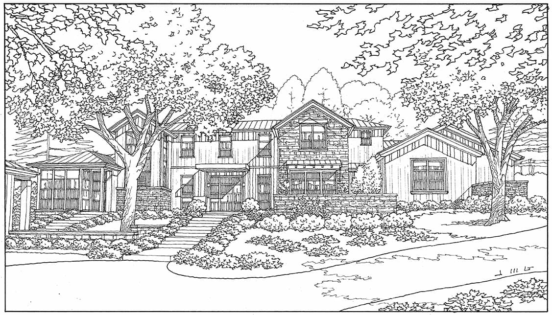 Freehand Line Drawing of Custom Home in Los Altos Hills, California